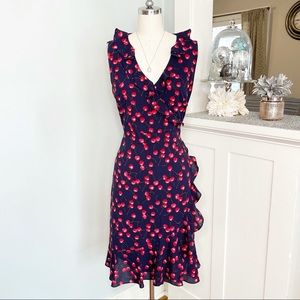 J. Crew Navy Cherry Print Ruffled Wrap Dress New